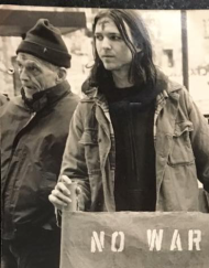 Dan and me on Ash Wednesday 1998, protesting President Clinton's plans to bomb Iraq.